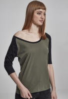 Tricouri cu maneca trei sferturi raglan oliv-negru Urban Classics