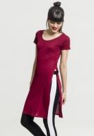 Tricouri lungi cu crapaturi laterale rosu burgundy Urban Classics