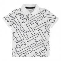 Tricouri polo Boss Hugo Boss Monogram pentru copii alb 10b