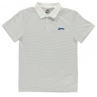 Tricouri polo cu dungi Slazenger Micro Shirt pentru baietei alb