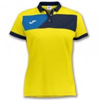 Tricouri polo Joma Crew II cu maneca scurta galben-bleumarin pentru Femei