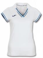 Tricouri polo Joma Terra alb-royal cu maneca scurta pentru Femei