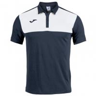 Tricouri Polo Joma Winner bumbac bleumarin-alb cu maneca scurta