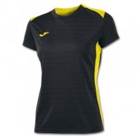 Tricouri sport Joma Campus II negru-galben cu maneca scurta pentru Femei