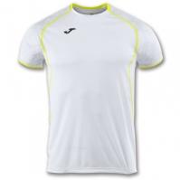 Tricou jogging Record Joma II alb-galben cu maneca scurta