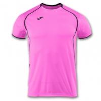 Tricou jogging Record Joma II roz-negru cu maneca scurta