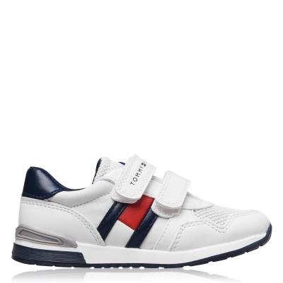 Steag Adidasi sport Tommy Hilfiger Low Velcro baietei alb albastru x008
