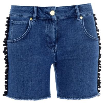 Pantaloni scurti blugi Biba Pom Pom albastru
