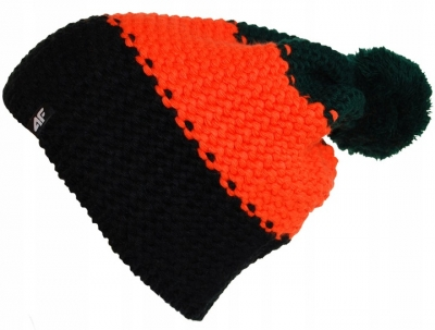 Caciula iarna cu mot 4F portocaliu unisex negru