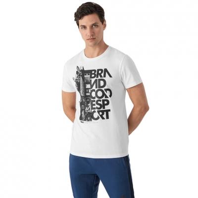 Tricou alb cu imprimeu pe piept 4F barbati