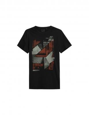 Tricou barbati 4F negru cu imprimeu