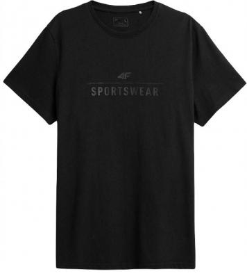 Tricou negru 4F simplu cu logo barbati