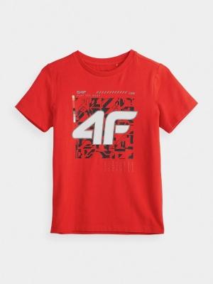 Tricou rosu cu imprimeu 4F copii