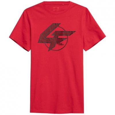 Tricou sport rosu bumbac 4F cu imprimeu barbati