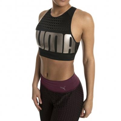 Bustiera aerobic neagra Puma Mid Impact femei