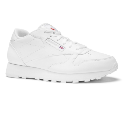 Pantofi sport piele Reebok Classic Leather albi 50151 unisex copii