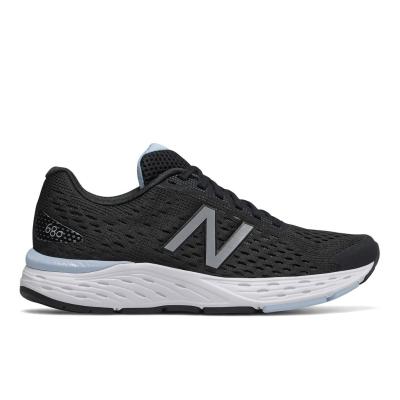 Adidasi alergare New Balance 680 Wide pentru femei negru alb albastru