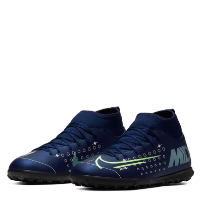 Adidasi Gazon Sintetic Nike Mercurial Superfly Club DF pentru copii albastru argintiu