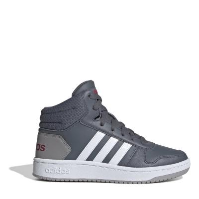 Adidasi inalti adidas Hoops Mid 2.0 pentru baietei gri inchis alb