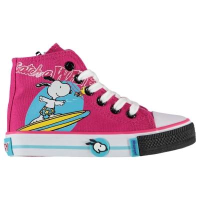 Adidasi inalti Beppi Snoopy Canvas pentru fete pentru Bebelusi fucsia