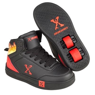 Adidasi inalti Skate Shoes Sidewalk Sport pentru Copii negru rosu