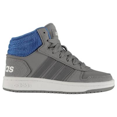 Adidasi sport adidas Hoops Mid 2.0 baieti gri albastru alb