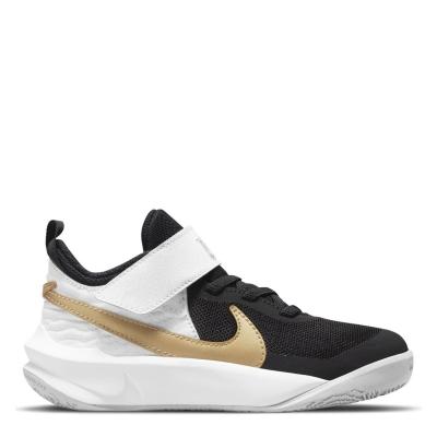 Adidasi pentru baschet Nike Team Hustle baieti negru auriu alb