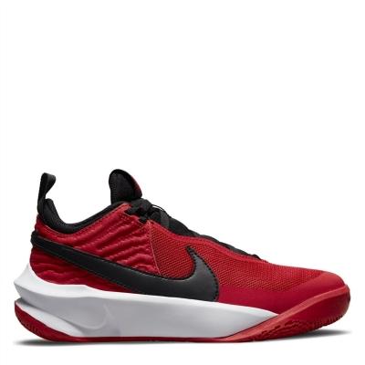 Adidasi pentru Baschet Nike Team Hustle D10 pentru copii rosu negru