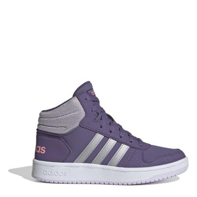 Adidasi sport adidas Hoops 2.0 Mid pentru fete mov argintiu