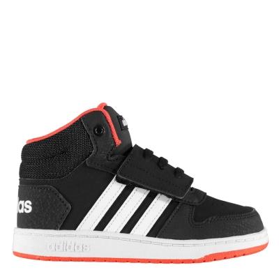 Adidasi sport adidas Hoops Mid pentru Bebelusi negru alb rosu