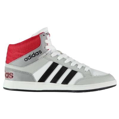 Adidasi sport adidas Hoops Mid Top Child pentru baieti alb negru rosu