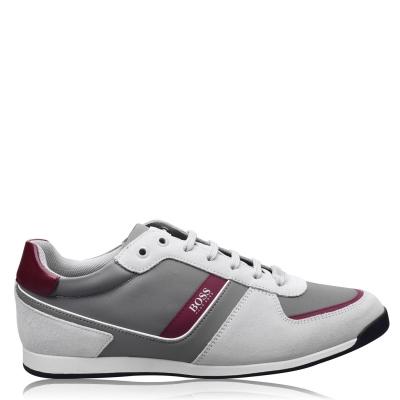 Adidasi sport BOSS Glaze nailon Suede open bej