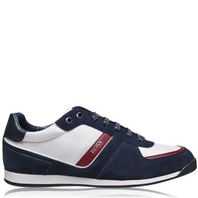 Adidasi sport BOSS Glaze nailon Suede bleumarin alb