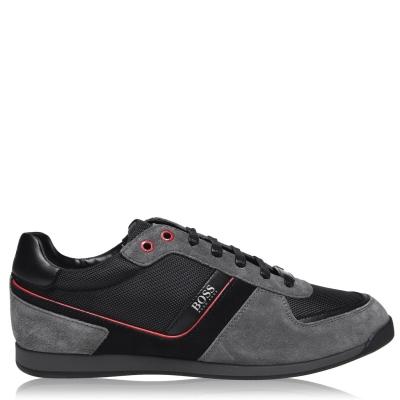 Adidasi sport BOSS Glaze nailon Suede gri rosu