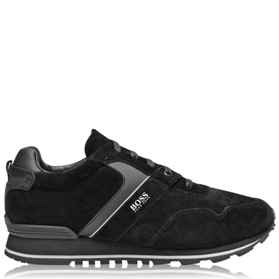 Adidasi sport BOSS Parkour Suede Run negru