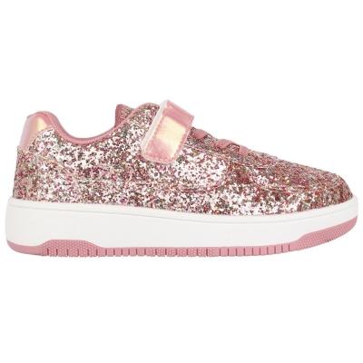 Adidasi sport Fabric Via pentru Copii roz glitter