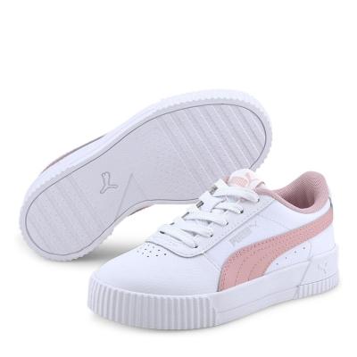Adidasi sport Puma Carina din piele pentru fetite alb roz