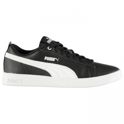 Adidasi sport Puma Smash din piele pentru Femei negru alb