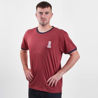Tricou Anglia Cricket Logo cu guler rotund pentru Barbati rosu burgundy