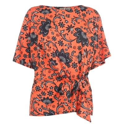 Biba Tie Detail Top portocaliu multicolor