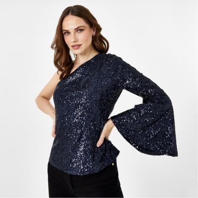 Biba BIBA x Tess Daly One Shoulder Sequin Top albastru