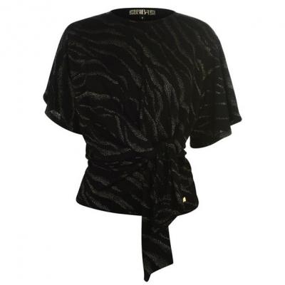 Biba Tie Detail Top negru