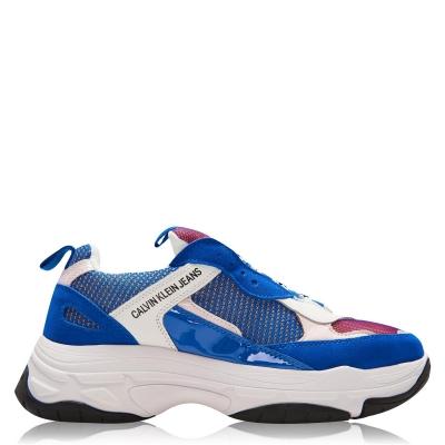 Adidasi sport Calvin Klein Jeans Marvin Nappa Chunky albastru alb