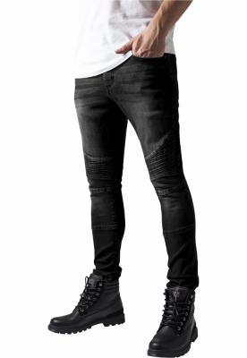 Blugi Slim Fit Biker negru-washed Urban Classics