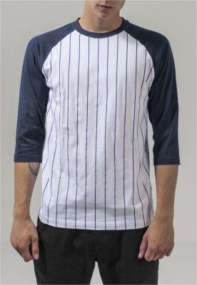 Bluza baseball contrast cu maneci trei sferturi alb-bleumarin Urban Classics