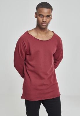 Bluza cu guler rotund long rosu-burgundy Urban Classics