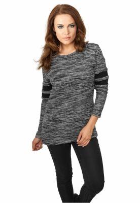 Bluza dama sport cu dungi pe maneci negru-gri Urban Classics