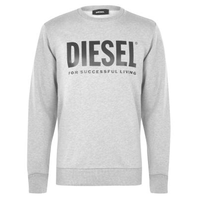 Bluza de trening Diesel Text Logo gri