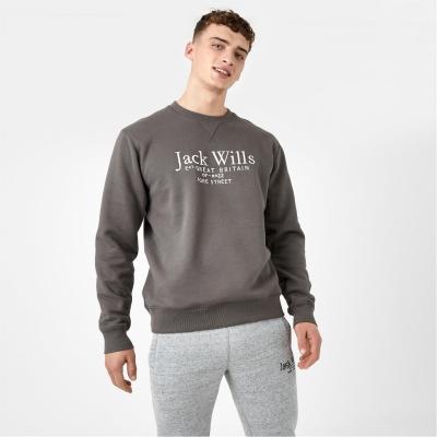 Bluza de trening Jack Wills Belvue imprimeu Graphic Logo cu guler rotund albastru