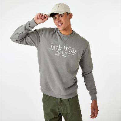 Bluza de trening Jack Wills Belvue imprimeu Graphic Logo cu guler rotund washed kaki